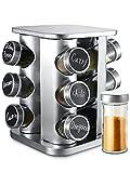 Especiero Giratorio 360° con 12 Tarros para Especias - Botes Herméticos - Con Etiquetas y Rotulador Borrable