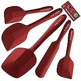 Wanbasion 5 Piezas Rojo Espatula de Silicona para Cocina Repostería Goma, Juego de Espatula de Silicona para Cocina Resistente, Espatula de Silicona para Cocina Profesional Grande sin Bpa