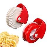 herramienta para hornear de cocina con rodillo de rueda de plástico de tarta o ravioles, pasta, pizza, pastelería, decoración de celosía (2PCS)