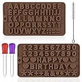 Maxin - Moldes de silicona para letras y números para dulces de chocolate, 2 moldes de silicona para hornear con goteros y cepillo de limpieza