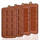 4 moldes de silicona para chocolate, Senhai 2 tipos de rotura Apart antiadherente Candy Protein y Energy Bar Molde bandeja para hornear …