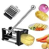Cortador de Patatas, Laxus Patatas Fritas con Dos Cuchillas Afiladas de Acero Inoxidable y Ventosa para Estabilidad