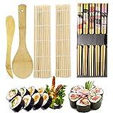 ZFYQ 9pcs Kit para Hacer Sushi de Bambú Preparar Sushi Fácil Y Profesional con Este Juego