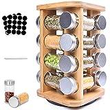 Frasheng Especiero,Madera natural Especiero,Especiero giratorio en madera,360 ° Especiero Giratorio 16 Botes Especias,Fácil de Limpiar,Ahorro de Espacio Especiero Cocina,Práctico Organizador Especias