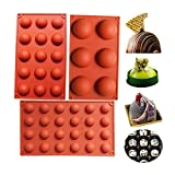 Bakeware Set Molde de silicona para la decoración de la torta Jelly Pudding Chocolate Candy 6 agujeros semicírculo 15 agujeros semicírculo 24 agujeros semicírculo Cada diseño 1pc Brown Color, Set of 3