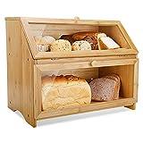 Leader Accessories Caja de Pan, Caja de Pan de Doble Capa para Cocina y panadería, Almacenamiento de Alimentos de bambú de Gran Capacidad, Caja de Pan aromatizante