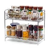 EZOWare 2 Niveles Estantería Cocina Baño Estante Especiero de Pie Libre Encimera Organizador Multiuso para Especias/Hierbas, Condimentos, Jabones, Botelas, Frascos - Cromo