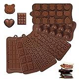 Moldes Chocolate Silicona 6PCS Moldes de Silicona para Chocolate y Bombones Antiadherentes Moldes Chocolate Letras y Números para Hacer Pasteles de Muffins de Chocolate Dulce 6 Formas