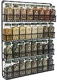 Sorbus Estante organizador de especias [4 niveles] rústico para pollo, hierbas, estante de almacenamiento montado en la pared, ideal para almacenar especias, artículos del hogar y más (negro)