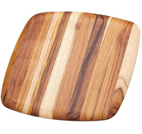 Teakhaus Tabla de cortar de madera de teca con bordes redondeados