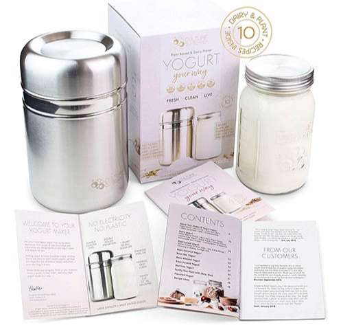 Yogurt Maker de acero inoxidable con frasco de vidrio