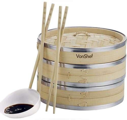 VonShef Vaporera de Bambú 20cm