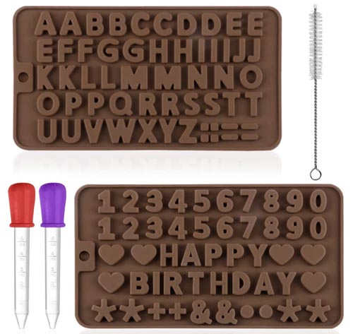 Maxin - Moldes de silicona para letras y números para dulces de chocolate